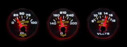 LED gauges at night